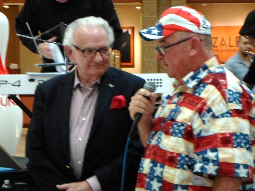 Dickie Simmons, Supervisor Knabe's deputy and Colonel Hughey at the Memorial Day concert at Puente Hills Mall
