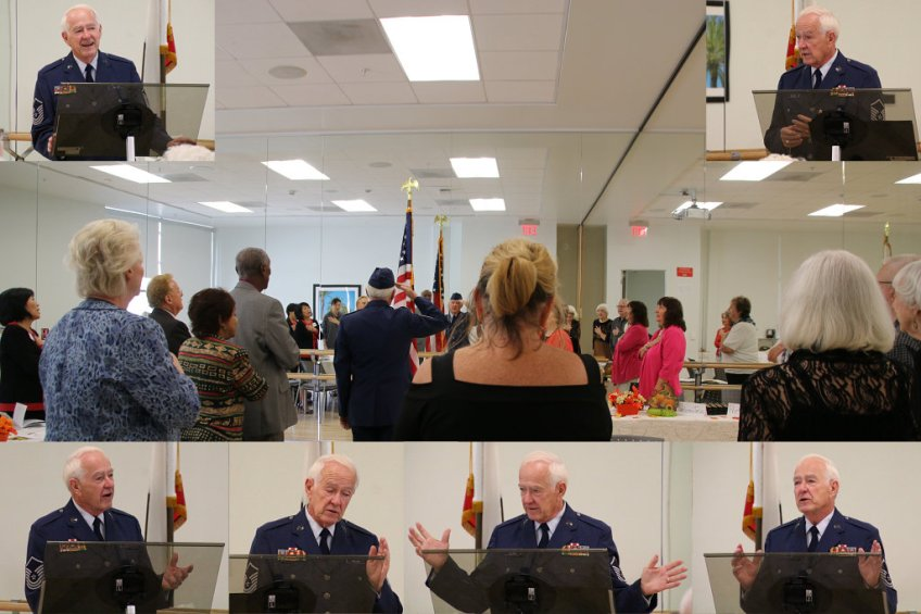 HHIA Board Member Mike Williams discuses the history of Veterans Day at the Hacienda Heights Women's Club November Luncheon- Nov 3, 2016